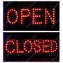 Placa D Led Sinalização 48x25cm Open X Closed Aberto Fechado