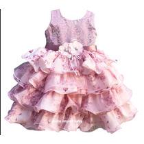 Vestido Floral Ano Novo Rose Infantil Com Tiara