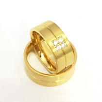 Alianças De Casamento Folheada Ouro 18k 8mm Mosaico