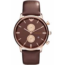 Relógio Emporio Armani Ar0387 Original Rose Pulseira Couro