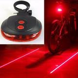 Kit Luz Led Bicicleta Bici Trasera + 2 Carriles Luces Laser
