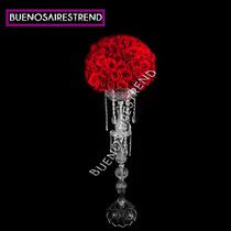 Porta Bouquet De Vidrio Pie De Topiario 80cm Arreglo Floral