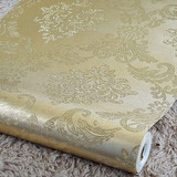 Papel De Parede Metalizado Alto Relevo Arabescos Dourado 10m