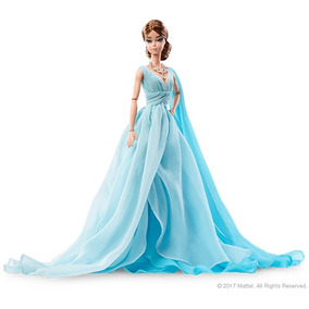 Hermosa Barbie Porcelana Blue Chiffon Ball Gown Gold Label