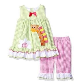 Conjunto 2 Piezas! Vestido + Pantalón Verde Bebe Nena Verano