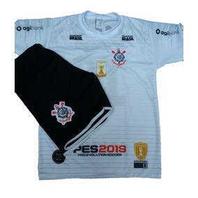 Conjunto Time Infantil Uniforme Futebol Corinthians Pronta E 72b27926f85e8