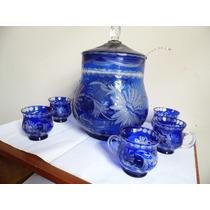 Antiga Poncheira Azul, Linda, Lapidada À Mão, Cristal Tcheco