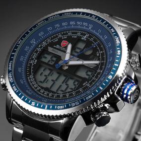 Reloj Shark En Acero Detalles Azules Analógico Digital
