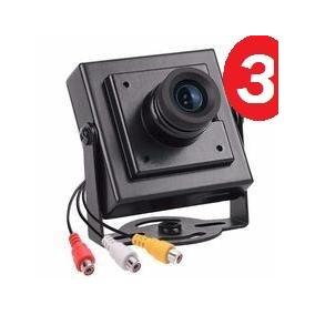 Kit C/ 3 Mini Câmera De Segurança Ccd Color Com Áudio Cftv