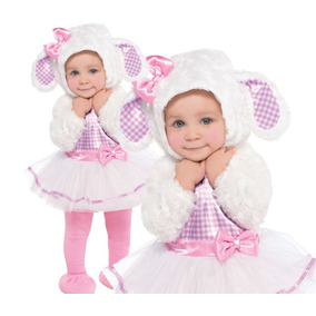 Disfraz Bebe Niña Oveja Blanco Rosado 12 - 18