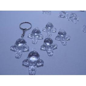 24 Anjinhos De Acrilico Incolor Tam/ 3x2,5cm - Lembrancinhas