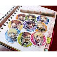 Set De 9 Stickers Circulares De Anime - Shingeki No Kyojin
