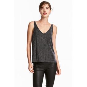 Blusa Musculosa H&m Original -negra Con Brillo- Black Closet