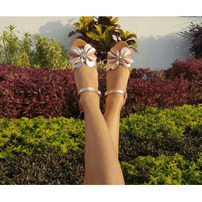 Sandalia Plana Elegante De Moda Color Oro Rosa De Moda Mujer