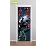 Adesivo Decorativo De Porta Vingadores Hulk Homem Aranha
