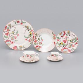 Jogo De Jantar 42 Peças De Porcelana Malra Flores - R17081