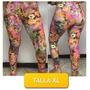 Pantalon Leggins Licras Estampado De Flores Talla Xl Mor05xl