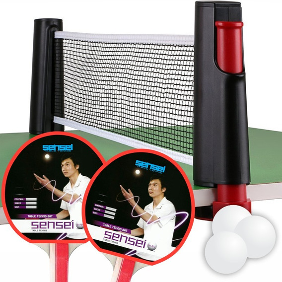Set Ping Pong Portátil - 2 Paletas + Pelotas + Red Retráctil