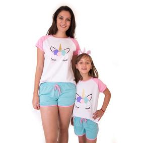 Pijama Unicornio Kit Mãe E Filha Short Doll - Frete Grátis
