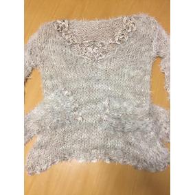 Sweater Tejido A Mano Con Detalles Bordados Beige Para Mujer