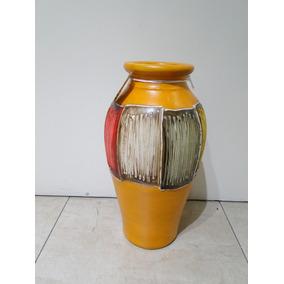 Jarron Chico Ceramica Rsutco Relieve Verde Rojo Naranja Deco