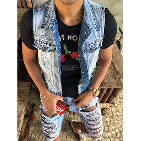 Colete Masculino Jeans Top Destroyed Slim Fit