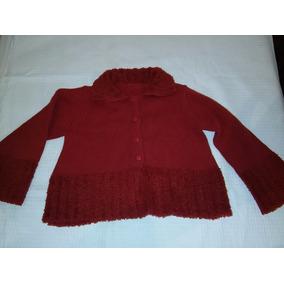 Campera Sweter De Lana Tejida Cheeky Talle 4 Roja