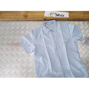 Camisa De Uniforme Dama Manga Corta En Oxford Azul Cielo T-l