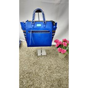 Bolsa Feminina Couro Ecológico De Mão Super Chique Azul