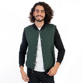 Chamarra Bomber De Hombre Color Verde Botella Corte Slim Fit