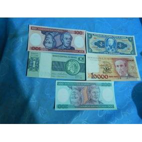 Lote De 5 Cédulas Fe Brasileiras Dinheiro Antigo Ref.03