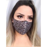 Kit 3 Máscaras Tecido 3 Camadas Animal Print Oncinha Confort