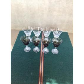 Copas Antiguas Vino Y Agua Cristal Tallado Frances X 8