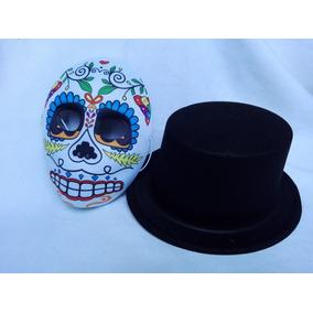 Kit Máscara Sombrero Calavera Catrin Día Muertos Halloween
