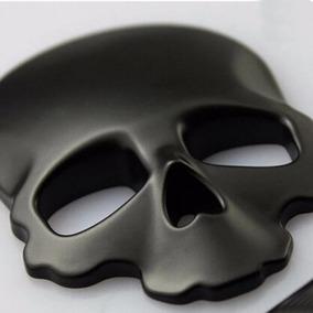 Adesivo Para Carro Moto Emblema Caveira Crânio Skull Preto3d
