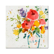White Vase With Bright Flowers Canvas Art By Sheila Golden