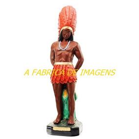 Imagem Caboclo Pena Vermelha Estatua Pajé 50cm Gesso Brasil