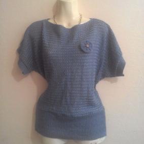 Blusa Tejida Textil Gris Azulozo C/flor