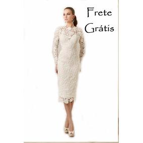 Vestido Noiva Renda Guipir Midi Civil Cartório Simples Plus