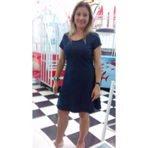 Vestido Malha Jeans Super Confortavel Tam M 42 Evasê