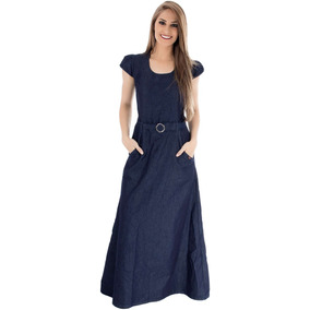 Vestido Longo Azul Com Cinto - Não Perca