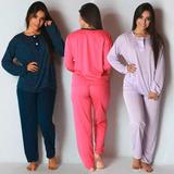Pijama Longo Blusa De Botões E Calça Adulto Feminino Malha
