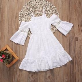 Vestido Meninas Lindo Flor Princesa Crianças Branco Mangas