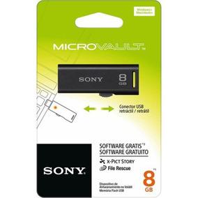 Pen Drive Sony Micro Vault Retrátil 8gb Preto Usm8gr/b