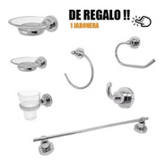 Juego Accesorios Completo Abs Cromo Ibiza Jabonera Metalica
