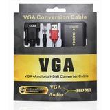 Cabo Adaptador Conversor Vga(pc) Para Hdmi(tv)audio Black