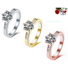 Anillo Compromiso En Oro 14k Y Diamante Central Certificado
