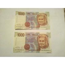 Lote 2 Billetes Italia 1000 Liras Muy Buenos