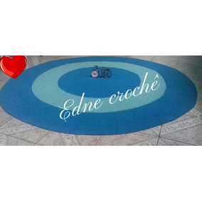 Tapete Em Croche Com 1,50 Diametro/turquesa/verde Agua