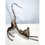 Gato Eco Escultura Metal Hierro Decoración Living Original